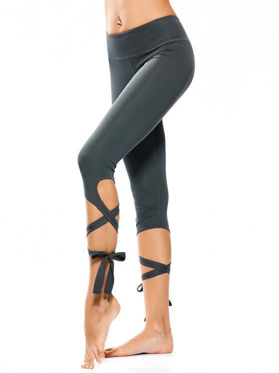 Wrap Hem Capri Yoga Pants - Atlântida L
