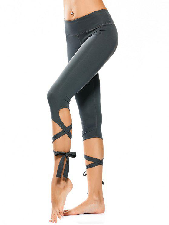 Wrap Hem Capri Yoga Pantalones - Atlantis M