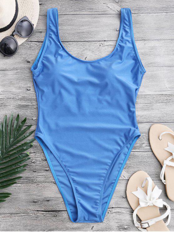 عالية قطع عارية الذراعين ملابس السباحة - أزرق XS