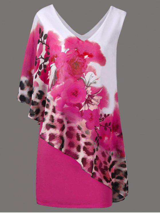 V cuello floral y Cheetah Print Capelet vestido de fiesta - Cientos de Fructosa M