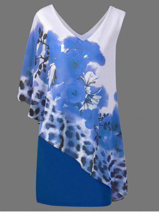 V cuello floral y Cheetah Print Capelet vestido de fiesta - Azul L