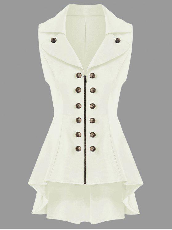 معطف الصدرية عالية انخفاض - أبيض فاتح 2XL