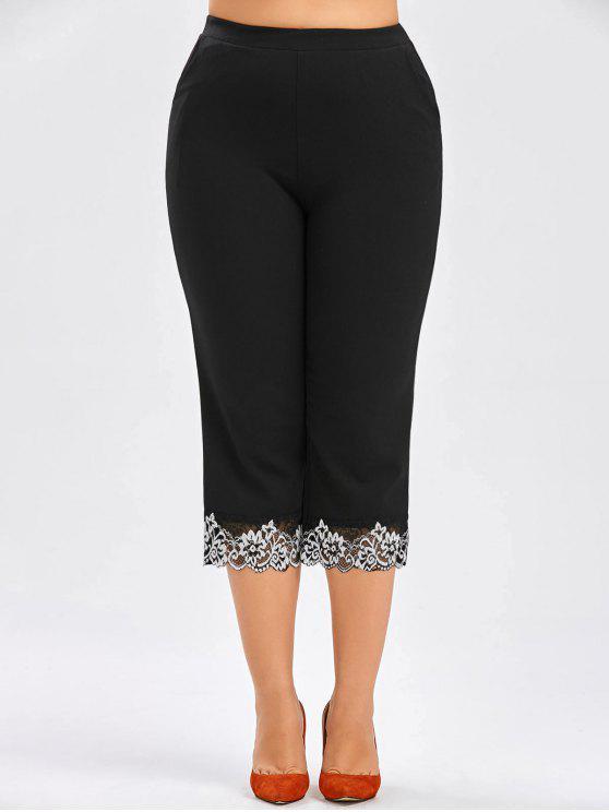 30% OFF] 2019 Plus Size Elastic Waist Capri Pants In BLACK | ZAFUL