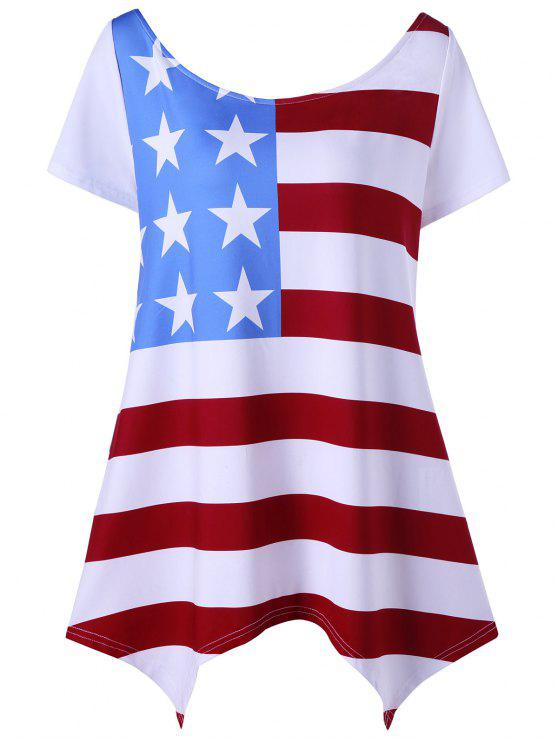 d2f1765ba01 2018 Asymmetric Patriotic Plus Size American Flag T-Shirt In WHITE ...