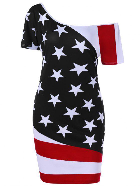 Plus Size Skew Neck American Flag Patriotic Bodycon Dress BLACK