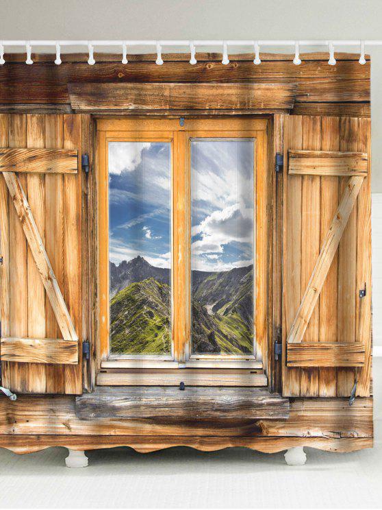 نافذة الخشب المناظر الطبيعية النسيج دش الستار - BROWN W71 بوصة * L79 بوصة
