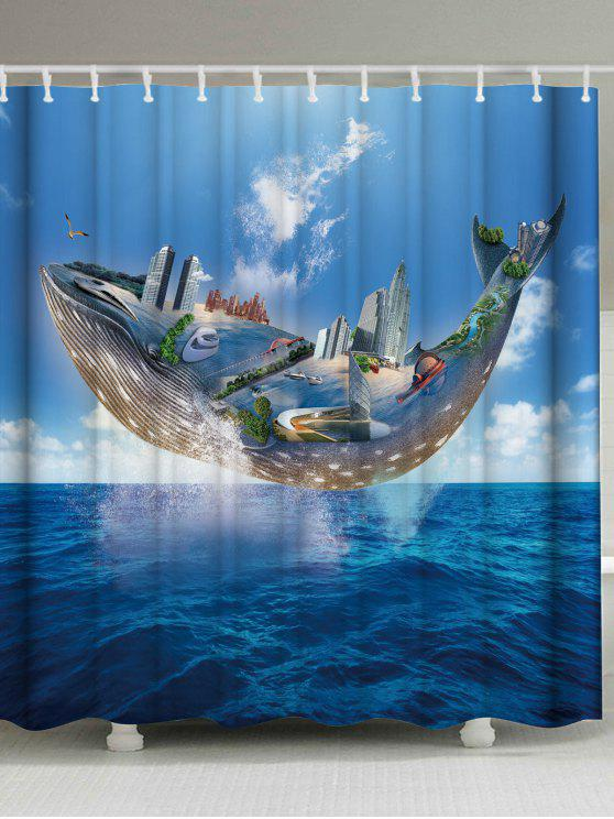 Mildew Resistant Ocean Whale Shower Curtain