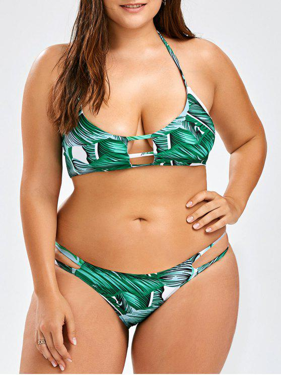 shops Plus Size Tropical Halter Bikini Set - GREEN 3XL