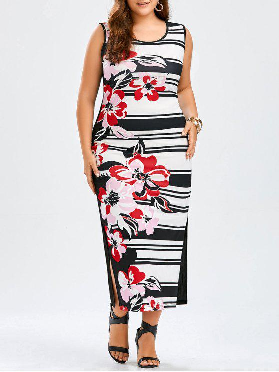 Plus Size Floral Striped Sleeveless Maxi Tank Dress BLACK AND WHITE AND RED
