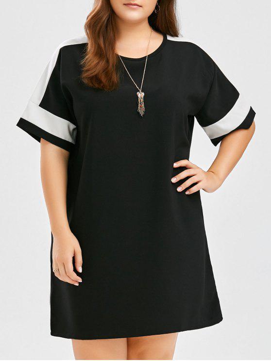 دولمان كم بالاضافة الى حجم فستان كولوربلوك تي - أسود حجم واحد