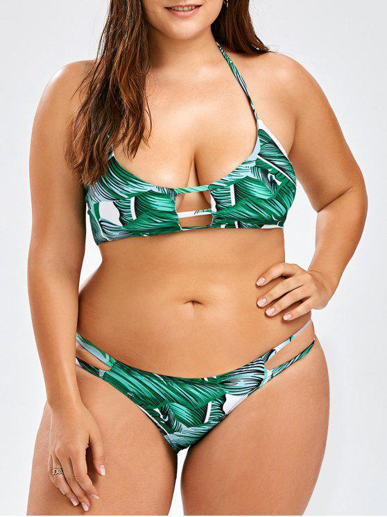 299cea4fad76f 15% OFF  2019 Plus Size Tropical Halter Bikini Set In GREEN