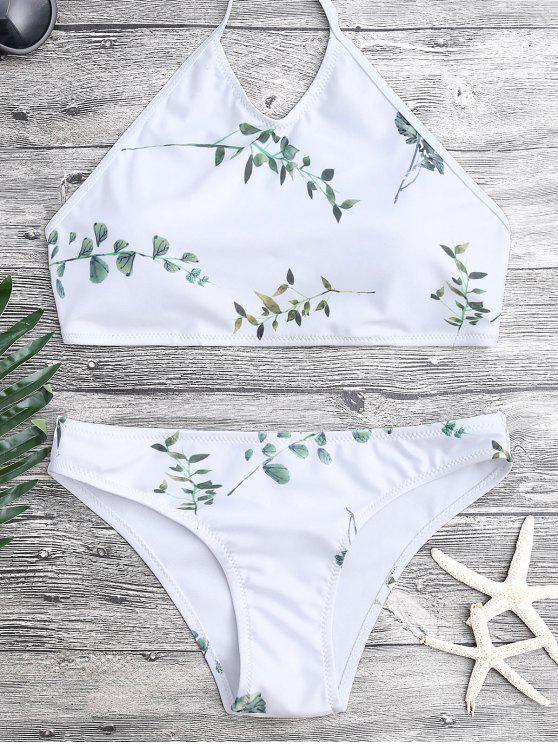 sale Tie Back Leaf Print Bikini Set - WHITE M