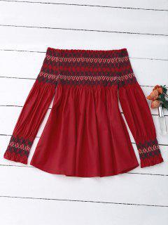 Blusa Con Mangas Geométricas - Rojo M