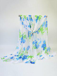 Blooming Rose Impreso Gasa Fina Gasa Bufanda - Azul