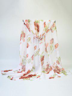Blooming Rose Printed Chiffon Fine Gauze Scarf - Light Coffee