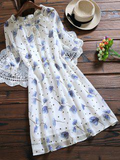 Tie Neck Floral Elastic Waist Chiffon Dress - White Xl