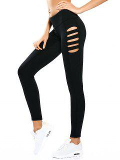 Cut Out Tight Yoga Leggings - Black Xl