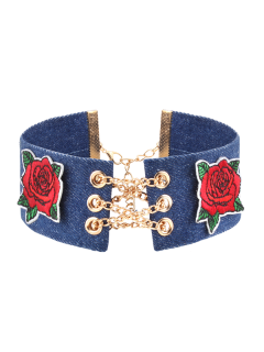 Denim Alloy Chain Embroidery Flower Choker Necklace - Denim Blue