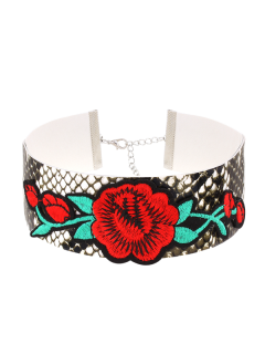 Snake Pattern Flower Embroidery Choker Necklace - Multicolor