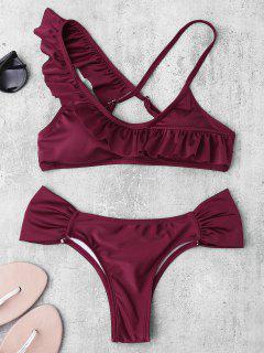 Ruched Asymmetric Ruffles Bikini Set - Burgundy M