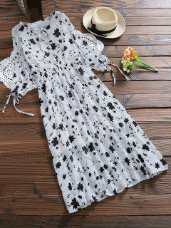 Tie Neck Plant Print Holiday Dress - White 2xl