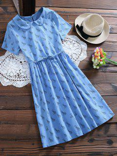Peter Pan Collar Deer Print Smock Dress - Light Blue M