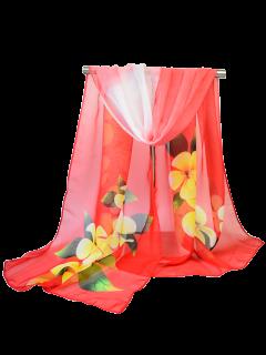 Gossamer Blossom Printed Chiffon Shawl Scarf - Red