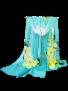 Gossamer Blossom Impreso Chiffon Bufanda Chal - Azul