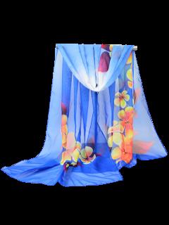 Gossamer Blossom Impreso Chiffon Bufanda Chal - Azul Zafiro