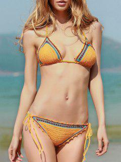 Bikinis En Crochet Lacets à Bretelles Spaghetti - Jaune L