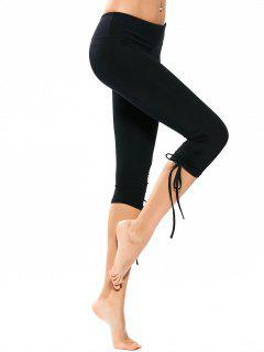 Drawstring Hem Capri Yoga Pants - Black M