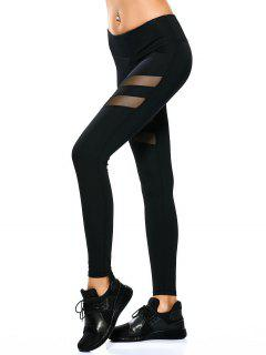 See Through Mesh Panel Sporty Leggings - Black M