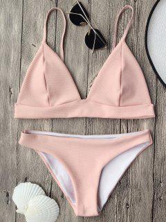 Cami Plunge Bralette Bikini Top And Bottoms - Pink L