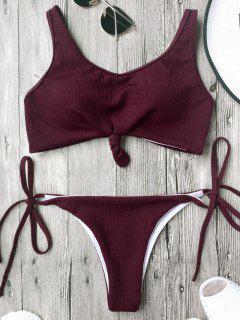 Cami Bralette String Bikini Set - Burgundy M