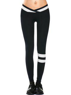 Activewear Two Tone Yoga Leggings - Black L