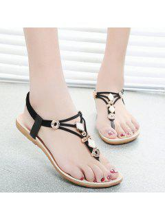 Metal Flat Heel Elastic Band Sandals - Black 37