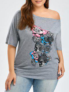 Rose Floral Plus Size Skew Neck T-Shirt - Gray 2xl
