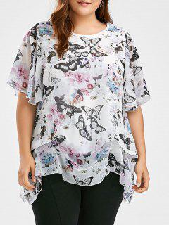 Butterfly  Printed Plus Size Chiffon Ruffle Top - White 3xl