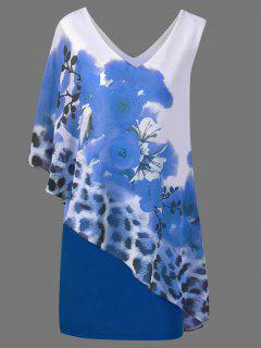 V Neck Floral And Cheetah Print Capelet Party Dress - Blue M
