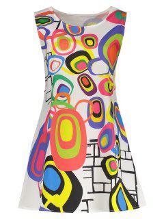 Geometrisches Mini Trapeze Kleid - Weiß S