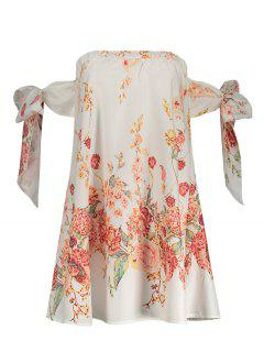 Mini Floral Sur La Robe à L'épaule - Blanc L