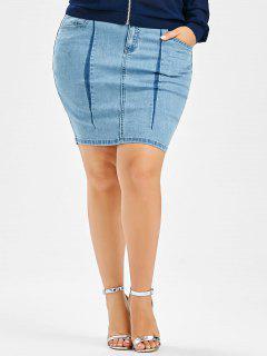Denim Mini Plus Size Bodycon Skirt - Light Blue 3xl
