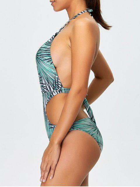 ladies Tropical Print One-Piece Swimwear - BLUE L Mobile