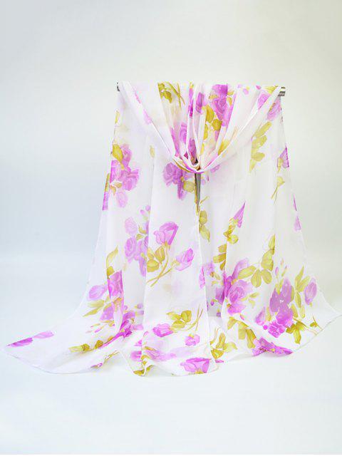Blooming Rose impreso gasa fina gasa bufanda - Morado Claro  Mobile