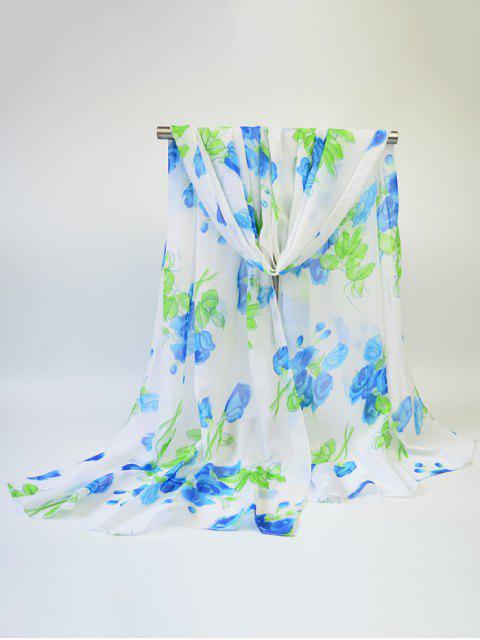 Blooming Rose impreso gasa fina gasa bufanda - Azul  Mobile