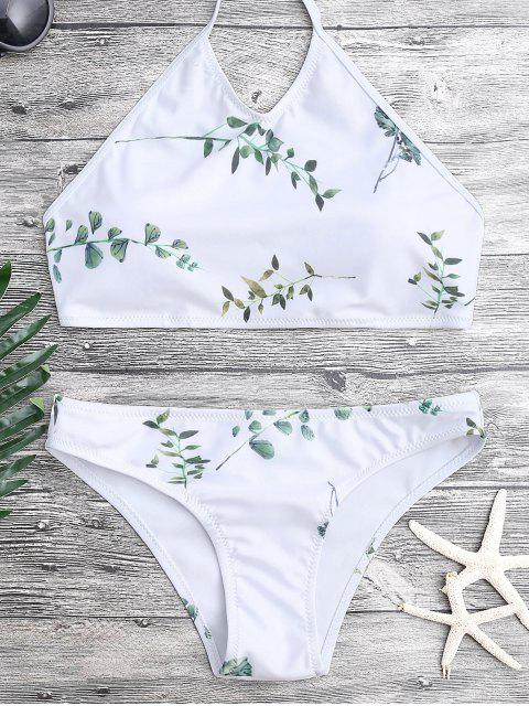 unique Tie Back Leaf Print Bikini Set - WHITE L Mobile