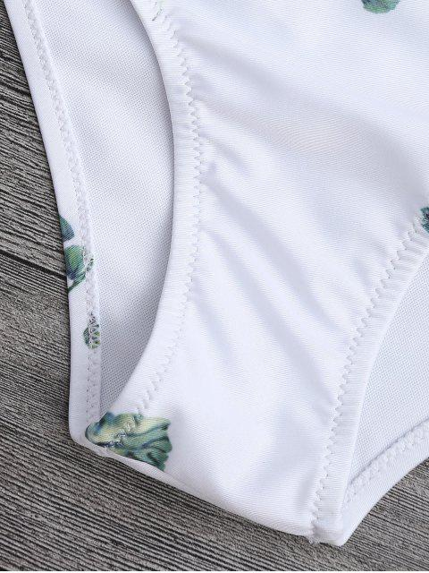 affordable Tie Back Leaf Print Bikini Set - WHITE S Mobile