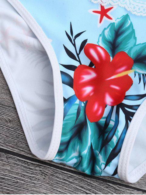women Lace Tropical Print Plunge Bikini Set - BLUE S Mobile