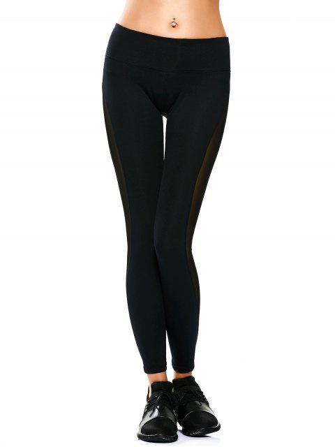 Leggings de yoga panneau en maille transparent - Noir L Mobile