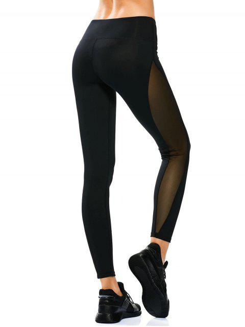 Leggings de yoga panneau en maille transparent - Noir M Mobile